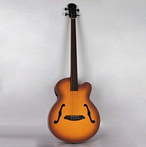 LOIKHGV Gitarre- Professionelle fretless elektrische Akustikgitarre mit EQ, Sunburst, 43 Zoll