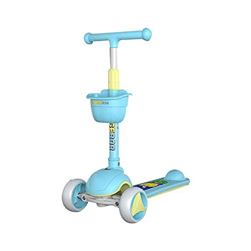 PTHZ Scooter Infantil, Scooter para niños pequeños de 3 Ruedas, niños y niñas de 3 a 12 años Aprende a dirigir, 4 Altura Ajustable y Ruedas de Flash de PU, Regalos para niños,Azul