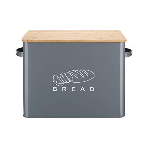 Bread Box, G.a HOMEFAVOR Extra Large Metal Bread Bin with Bamboo Lid, High Capacity Bread Storage Bin for Kitchen Countertop, Holds 2+ Loaves, 13