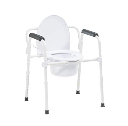Drive Medical Steel Folding Deep Seat Bedside Commode with Toilet Paper Holder and Commode Liner Sample, White