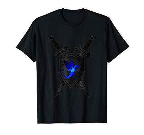 ソードアンドシールドクエストプロテクティブマジックドラゴン オンラインゲームをする Tシャツ