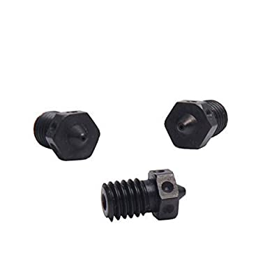 4pcs Hardened Steel Nozzles M6 Nozzle 0.25/0.4/0.5/0.6mm For 1.75mm V5 V6 Hotend Titan Aero Extruder Prusa i3 MK3 3D Printer Printing PEI PEEK or Carbon Fiber Filament Use