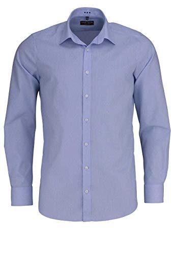 Marvelis Body Fit Hemd Langarm Bügelleicht Streifen Mittelblau Größe 42