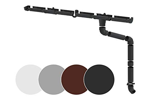 Regenrinnen Komplettset - für 1 Dachseite, Kunststoff PVC, für Dachflächen bis 100m² empfohlen, in 4 modernen Farben - RainWay90 (Set für min. 4 Meter, anthrazit)