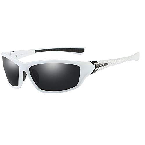 F Fityle Gafas de sol polarizadas UV400 antiimpacto gafas de ciclismo para hombres y mujeres, conducción de golf a prueba de viento gafas antiuv - Blanco y Negro