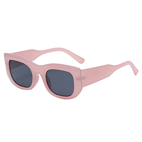 Liably Gafas de sol vintage para mujer, forma cuadrada, protección UV400, degradado de color de espejo, montura grande, polarizadas, multicolor, para conducción, pesca, viajes Rosa. Talla única