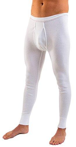 HERMKO 3542 2er Pack Herren Lange Unterhose Bio Baumwolle Doppelripp, Größe:D 10 = EU 4XL, Farbe:weiß