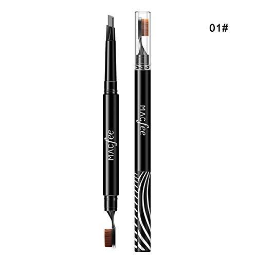 Crayon à sourcils double tête auto imperméable naturel durable stylo à sourcils avec brosse à dents forme pinceau 2 en 1 (Color : Grey)