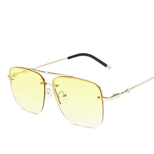 YWSZY Gafas de Sol, Gafas De Sol Sin Montura Cuadrada Hombres Y Mujeres Gafas Degradados Gafas De Sol De Moda De Marco Grande (Lenses Color : GoldYellow)