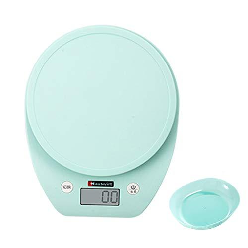 Kitchen Escala electrónica de la hornada Escala electrónica Precisión 0,1 g Alimentación 3 kg Escala de pesaje sólido/líquido g/LB/oz/ml Enviar Bandeja (Color : Green)