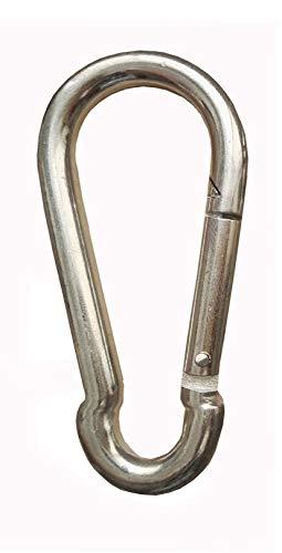 Karabinerhaken 6 x 60mm | 10 Stück | Stahl verzinkt Silber | Karabiner DIN 5299 | Feuerwehrkarabiner