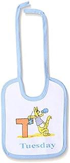 Jocky Kangaroo-Print Neck-Tie Rectangular Baby Bib - White and Baby Blue