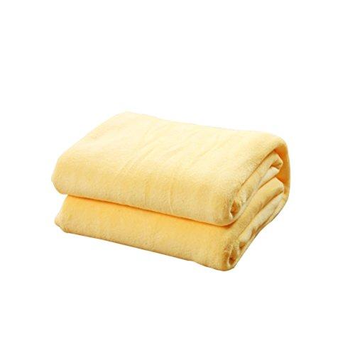Manta de franela de HomeMiYN, supersuave, para la cama o el sofá, caliente, para habitaciones, acampadas o viajes, Amarillo, 3.28x4.59 ft