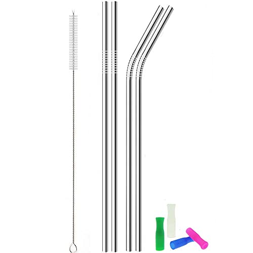 Metal Stainless Steel Straws, 4pcs 12' Ultra Long Reusable Metal Drinking Straws with Cleaning Brush and Silicone Tips for Tall Tumblers