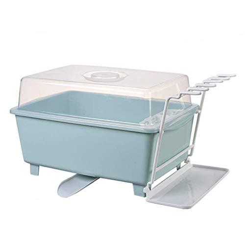 SHYPT Vajilla de Cocina escurridor, Caja de Almacenamiento con Tapa, Plato de Drenaje Estante de plástico, Azul