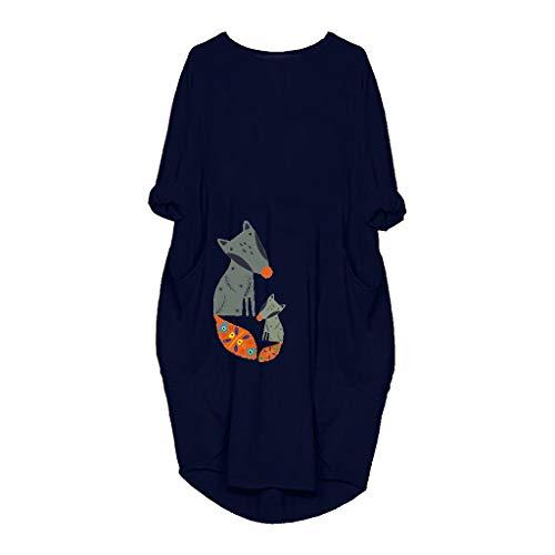 LILIHOT Damen Pocket Plus Size Lose Kleid O-Neck Casual Long Tops T-Shirt Kleid Lange Beiläufiger Lose T-Shirt Lässig Lange Ärmel Pullover Tasche Top Bluse Shirt