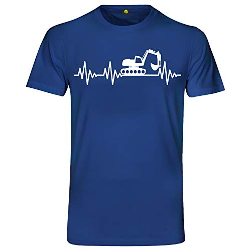 Herzschlag Bagger T-Shirt | EKG | Digger | Baustelle | Erde | Kran | Baumaschine Blau S