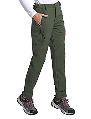 BALEAF Women's Hiking Fleece-Lined Ski Pants Windproof Water-Resistant Outdoor Insulated Soft Shell Army Green M