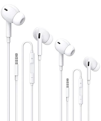 2 Pack Auriculares con Cable con Micrófono y Control de Volumen,Adecuados Headphone Sonido Estéreo Aplicar para Huawei,Samsung,XiaoMi, MP3,MP4,PC,Sony Android y Todos los Dispositivos de 3.5 mm