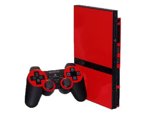 Rockin Red Vinyl Decal Faceplate Mod Skin Kit for Sony PlayStation 2 Slim (PS2 Slim) Console by System Skins