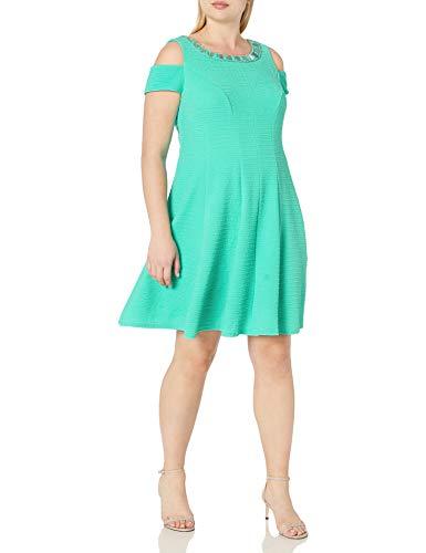 Sandra Darren Women's Plus Size Cold Shoulder Fit and Flare Knit Necklace Dress, Mint