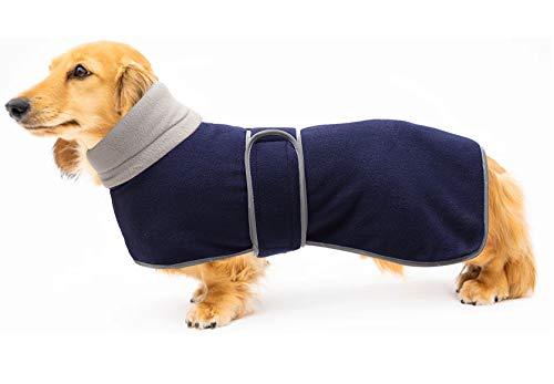 Geyecete - Abrigo de invierno con forro polar cálido, con bandas ajustables para perros pequeños, medianos y grandes, color azul marino