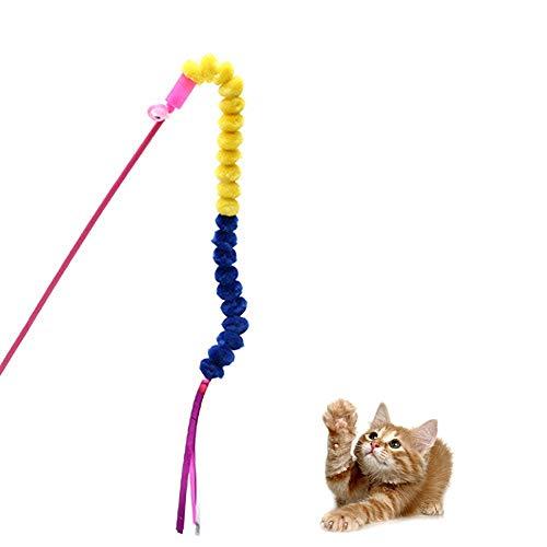 Kelong Juguete de pluma para gato, varita de juguete para gato, juego de varita Teaser juguete interactivo, juguetes para gatos divertidos (caterpillar)