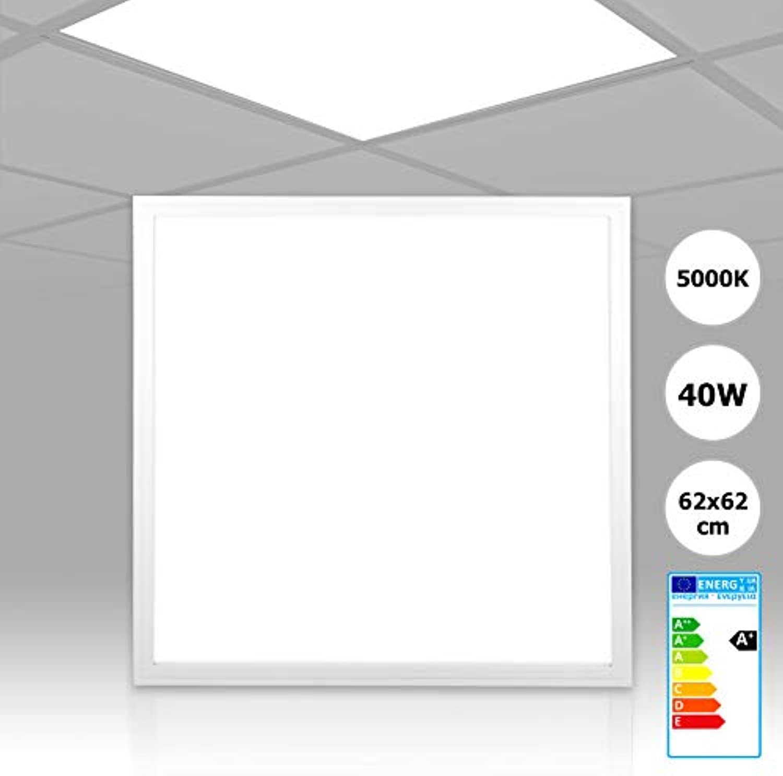 [5 Stück] Xtend LED Panel 62x62 neutralwei 5000K 40W nicht dimmbar PMMA ultraslim Rasterleuchte 620x620 Serie PLe2.1