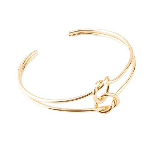MSYOU Offene Armband Simple Armreif Doppelt Knoten Charm Armband Frauen Mädchen Armreif Schmuck Geschenk für Thanksgiving Weihnachten (Silber), Eisen, Gold, 5.9cm