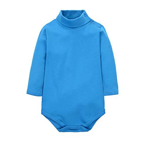 CuteOn Bebes Chicos Chicas Color sólido Basic Turtleneck Algodón Body Mono - Azul 24 Meses