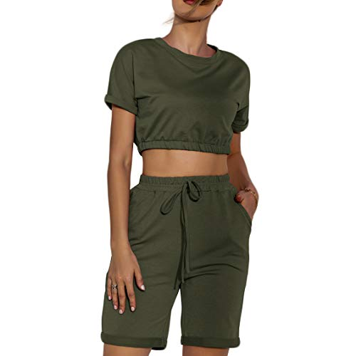 Hrsptudorc O-Neck Short Sleeve Crop Top+Elastic Waist Shorts Women 2 Piece Set Solid Casual Slim Tracksuits Green M