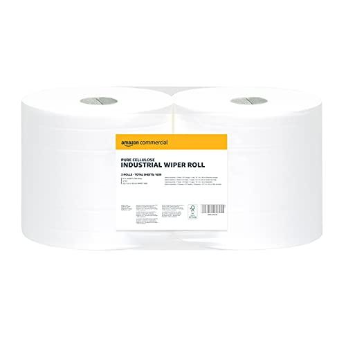 AmazonCommercial - Rotolo di carta industriale a 2 strati, 2 rotoli, 1630 fogli