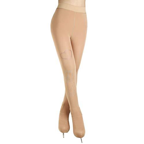 Jolie Calzamaglia da Pattinaggio Artistico Over The Boots Ragazza Leggings per Pattinaggio su Ghiaccio Spandex Alta Elasticità Concorrenza Pantaloni da Pattinaggio,Natural,S