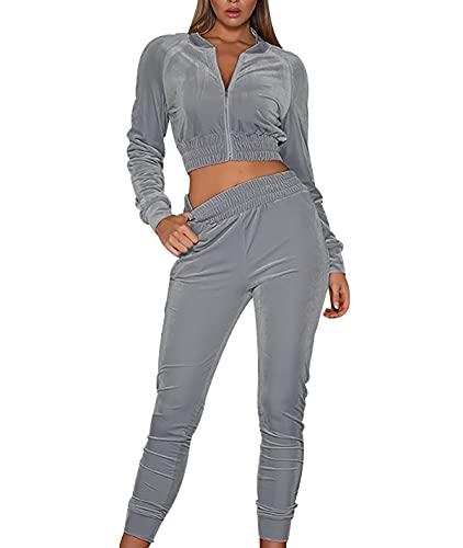 OADOBKICE Chándal Mujer 2Pcs Traje Deportivo Mujer Elegante Traje Deportivo De Mujer Elegante Traje Deportivo De Mujer Chándal De Mujer De Otoño Pantalón Jogger Holgado Negro Mujer Gris 3XL