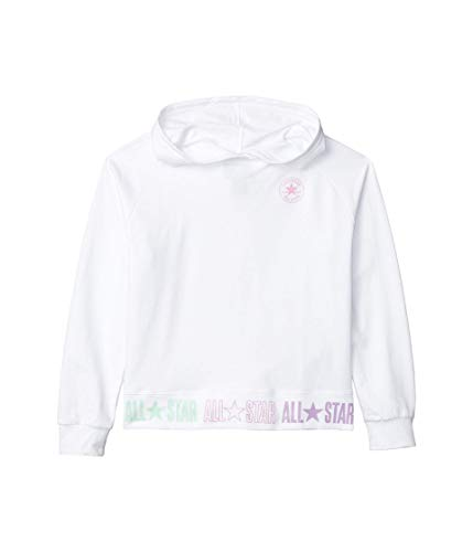 Converse Kids Girl's Chuck Patch Pullover Hoodie (Big Kids) White MD (10 Big Kids)
