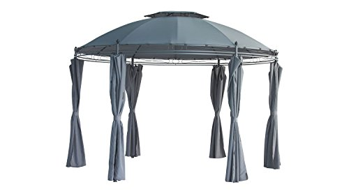 Möbel Akut Rund-Pavillon Festzelt Gartenpavillon mit Seitenwänden grau Ø 350 cm