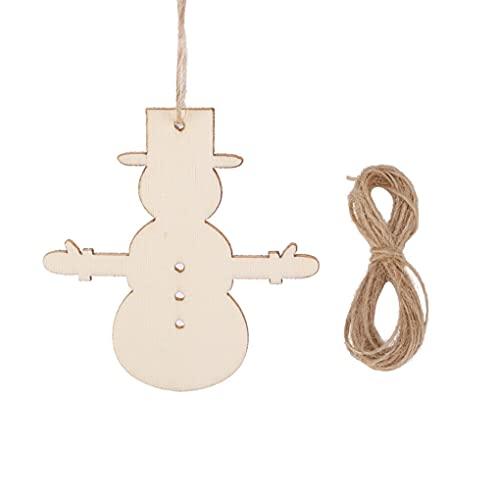 HoitoDeals Bola de madera MDF para colgar en forma de muñeco de nieve para árbol de Navidad, decoración en blanco (10 unidades)