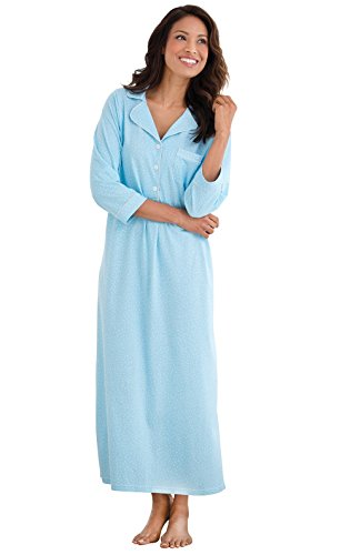 PajamaGram Long Nightgown Womens Cotton - Oh-So-Soft Pin Dot, Blue, S, 4-6
