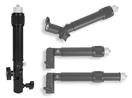 Photecs Stativ-Verlängerung Pro mit Winkel-Element, längen-Verstellbarer Teleskop-Ausleger, Mini-Monopod mit 3/8 Zoll Innengewinde und 1/4 Zoll Außengewinde, inklusive Gewindeadapter 1/4