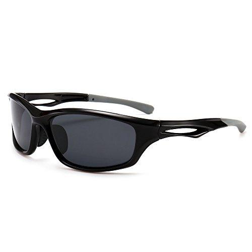 SUNGAIT Superlight Polarized Sports Sunglasses for Men Women Running Cycling Fishing Baseball Golf Driving (Black Frame (Glossy Finish) /Grey Lens, 64) Plastic Frame 8848 LHKHU