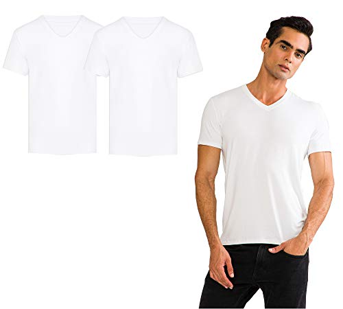 THERMOFORM TF 2er Set Herren V-Hals T-Shirts aus 100{14af7d52eae09037a3f97fc1b2d04be474a45c9d30021aeb3342f4e71e5afcf0} Fairtrade Bio Bambusfaser wahlweise in schwarz oder weiß (Weiss, S)