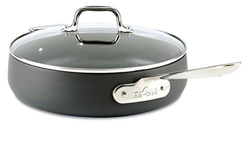 All-Clad 2100090554 E7853364 HA1 Hard Anodized Nonstick Dishwasher Safe PFOA Free Saute Pan Cookware, 4-Quart, Black