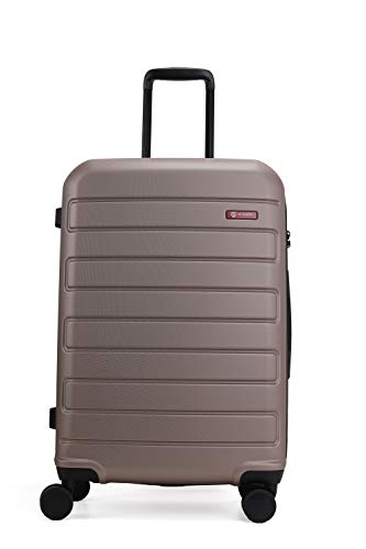 GinzaTravel Hardside Spinner, Carry-On, Wear-resistant, scratch-resistant Suitcase Luggage with Wheels (24-inch, Champagne)