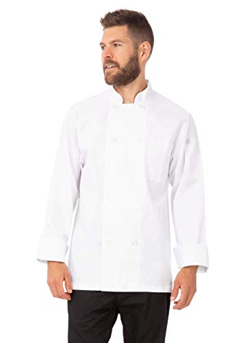 Chef Works Men's Le Mans Chef Coat, White, Large