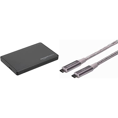Amazon Basics - 6,35 cm SATA-Festplattengehäuse, USB 3.0 & Verbindungskabel, USB Typ C auf USB Typ C, USB-3.1-Standard der 2. Generation, doppelt geflochtenes Nylon, 0,9 m, Dunkelgrau