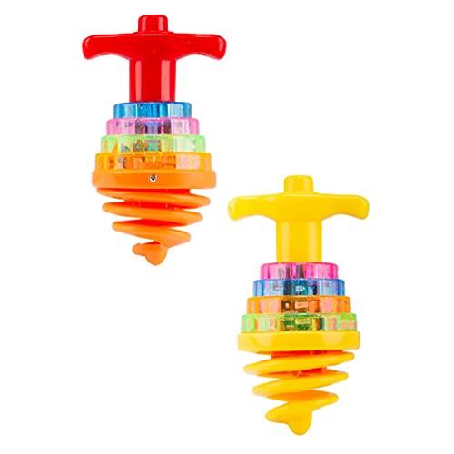 jojofuny 2 Piezas Giratorias de Luz Superior Juguetes LED Spinner Juguetes Música Parpadeantes Giroscopio Juguetes para Niños Fiesta de Cumpleaños Favores de Navidad Calcetín Rellenadores