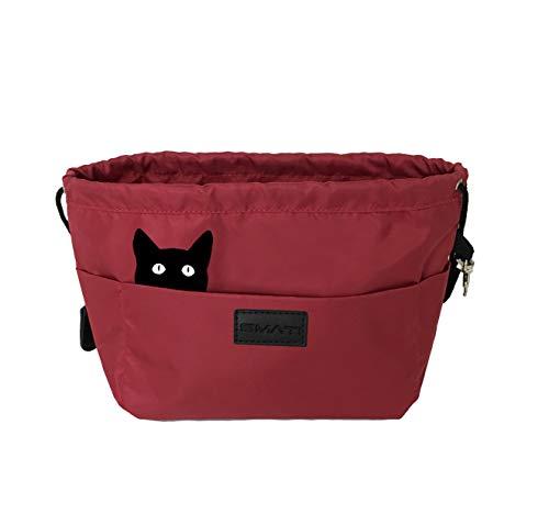 SMATI Bag in Bag Impermeable Organizador de Bolsos de Mujer con 12 bolsillitos de Almacenamiento(Rojo Gato)