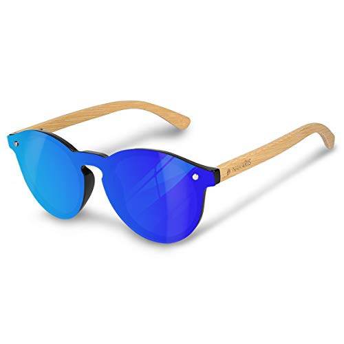 Navaris gafas de sol polarizadas UV400 - Lentes de madera y funda dura - Gafas de sol unisex - Sin montura con patillas marrón y cristal de color