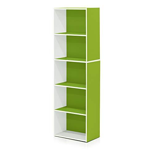 Furinno 5-Tier Reversible Color Open Shelf Bookcase , White/Green 11055WH/GR
