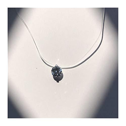 ZAOPP Mujeres Gargantilla Collar Invisible línea Pescado Cristal Colgantes del Collar del Cuello circón clavícula Cadena Collar Señora Accesorios (Metal Color : 2Claw 8mm)